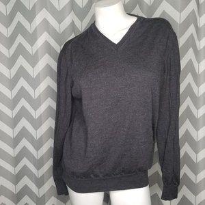 BLACK BROWN 1826 vneck wool sweater